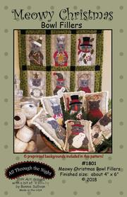 ATN1801, Pattern, and Pre-printed fabric, Meowy Christmas, Bowl Fillers by Bonnie Sullivan  (English)