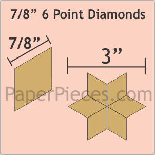 "7/8""6 Point Diamonds, 110 Pieces"