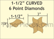 "1 1/2"" Curved 6-Point Diamonds, 96 Pieces"