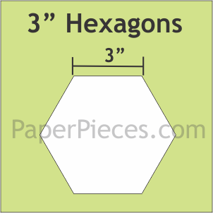 "3"" Hexagon, 25 Pieces"